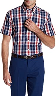 Men's Regent Short Sleeve Open Blue Plaid Button Front Shirt