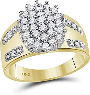 GemApex Flower Diamond Cluster Ring Solid 10k Yellow Gold Cocktail Band Fashion Style Round Wide Style 1/2 ctw