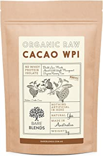 Bare Blends - Natural Whey Protein Isolate & Organic Raw Cacao | WPI | Chocolate Whey Protein Powder | Gluten Free | non-GMO | 1kg
