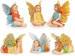 Miniature Fairy Garden 6pc Set - Tiny Sitting Fairies & Flying Laying Flat Fairies - Made of Resin - Colorful Pixie Outfits & Sparkle Adorned Wings - For Outdoor or House Decor - Whimsical and Magical