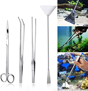 Czemo 4-częściowy zestaw do akwarium, akwarium, akwarium, terrarium, zbiornik, akcesoria, pęseta, nożyczki, szpatułka, zes...