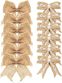 Aokbean Pack of 12 pcs Mini Pearl Natural Burlap Bow for Christmas Tree Topper Wedding Decor Baby Shower and Other DIY Crafts