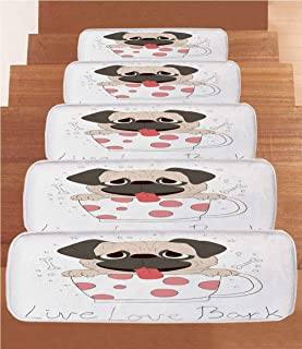 SoSung Pug Coral Fleece Stair Treads,Stair Tread Mats,Live Love Bark Quote with a Cute Puppy in a Tea Cup Happiness Funny Image,(Set of 5) 8.6