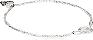 Emporio Armani Women Cubic Zirconia Caged Sterling Silver Mother of Pearl Logo Bracelet