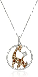 """Sterling Silver Swarovski Light Colorado Topaz Colored and Smoked Topaz Colored Crystal Deer Pendant Necklace, 18"""""""