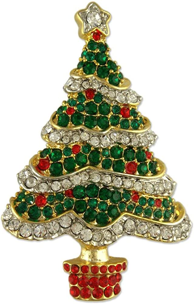 Crystal Gold Plated Green Christmas Tree PIN Brooch Made with Swarovski Elements
