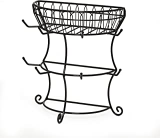 Gourmet Basics by Mikasa 5147847 French Countryside Metal Mug Tree with Storage Basket, Black
