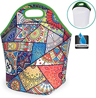 CHAUDER Waterproof Insulated Neoprene Lunch Bag Leakproof Large Double Layer Lunch Tote Purse Freezable Reusable Cooler Bag Food Container for Adult, Women to Office, Work (Kaleidoscope)