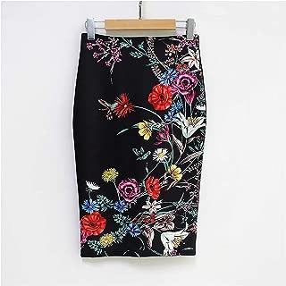 Surprise S Summer Style Pencil Skirt Women High Waist Green Skirts Vintage Elegant Floral Print Midi Skirt