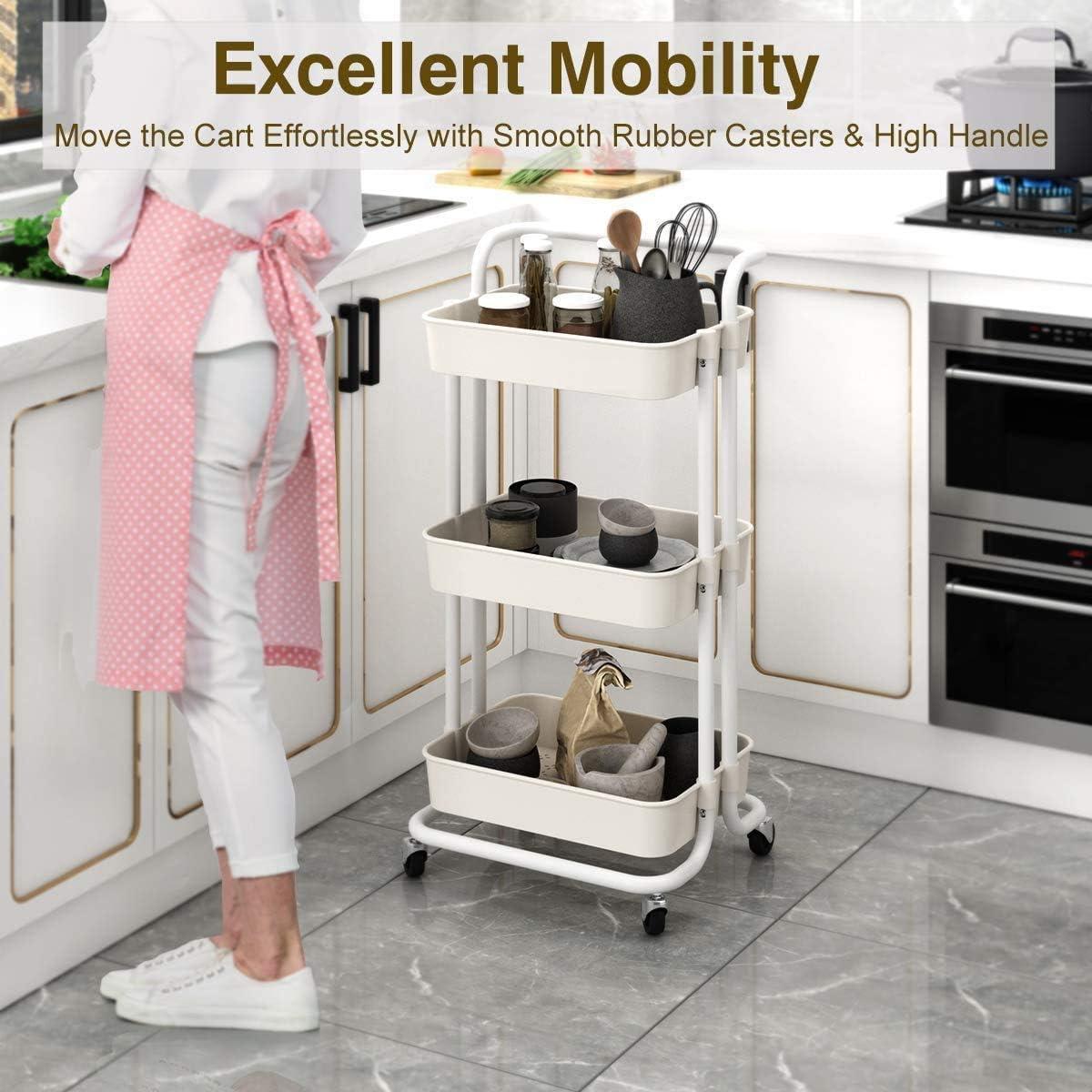 Scaffale da Cucina Carrello Organizer e rotelle Ufficio Carrello da Cucina Bianco Bagno 3 Livello Carrello Portaoggetti Trasportabile Adatto a Cucina Carrello di Servizio
