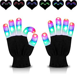 HOOMEDA LED Gloves Light Up Gloves Finger Lights 3 Colors 6 Modes Flashing Rave Gloves Novelty Toys for Christmas Xmas Birthday Party Halloween