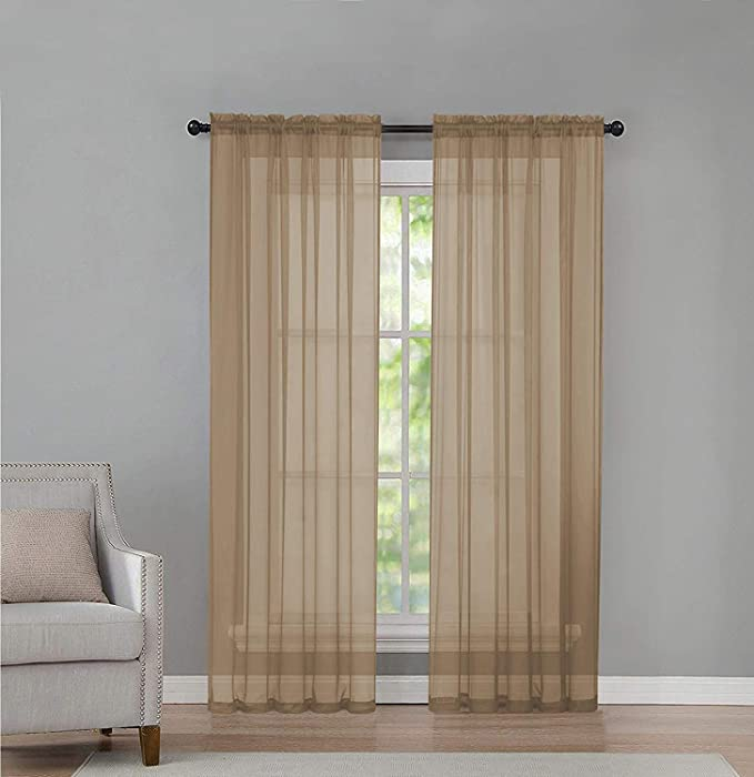 GoodGram 2 Pack: Basic Rod Pocket Sheer Voile Window Curtain Panels - Assorted Colors & Sizes (Linen, 84 in. Long Pair)