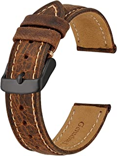 Anbeer Soft Calfskin Watch Strap 18mm 20mm 22mm with Black Buckle, Vintage Leather Wristband for Men and Women