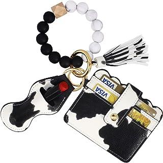 BIHRTC Silicone Beaded Keychain Bracelet Keyring Wristlet Keychain Bracelet Wallet for Women