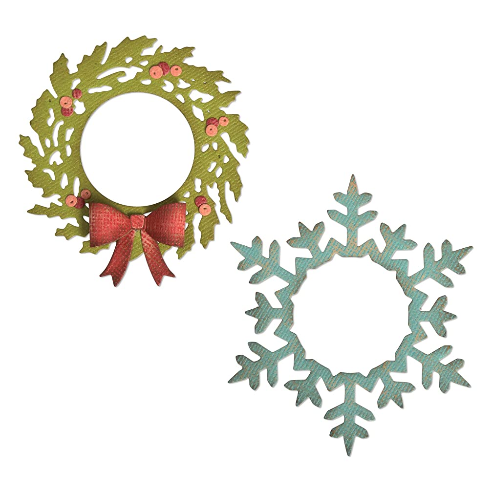 Sizzix 664210 Wreath & Snowflake by Tim Holtz Dies, us:one Size, Multicolor