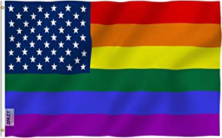 Anley Fly Breeze 3x5 Foot Rainbow USA Flag - Vivid Color and UV Fade Resistant - Canvas Header and Double Stitched - Gay Pride LGBT Flags Polyester with Brass Grommets 3 X 5 Ft