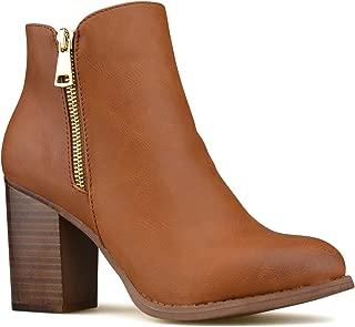 Premier Standard - Women's Side Zipper Closed Toe Ankle Bootie - Low Heel Casual Comfortable Walking Boot