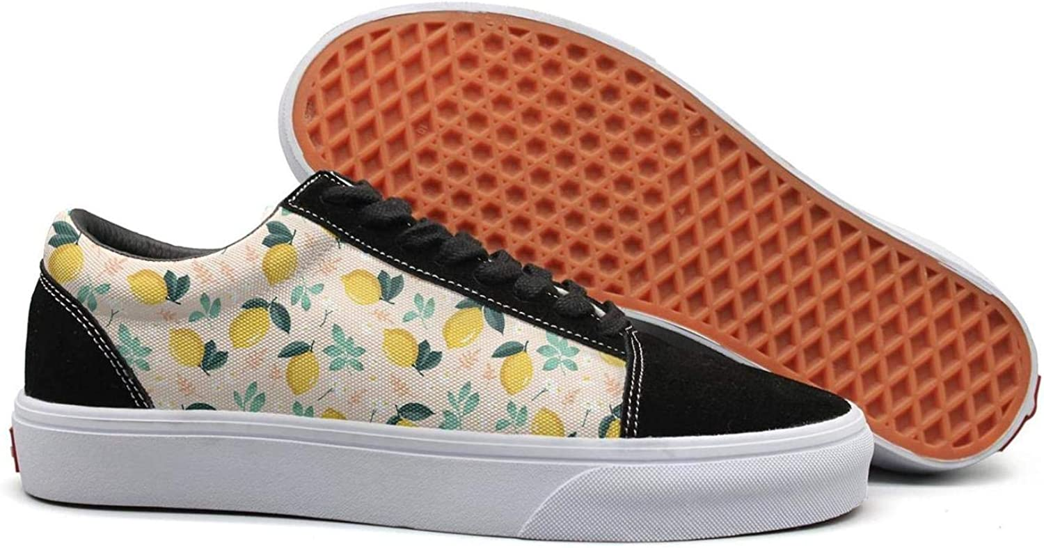 Uieort Summer Pattern Lemons Flowers Leaves Womens Lace up Canvas shoes Comfortable