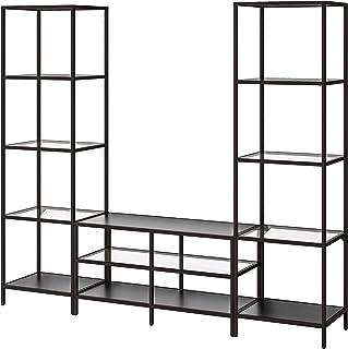 VITTSJÖ TV combinación de almacenamiento 202x36x175 cm negro-marrón/vidrio