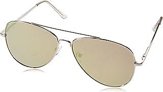 zeroUV Women's Large Full Metal Color Mirror Teardrop Flat Lens Aviator Sunglasses 60Mm One-Size Silver/Pink Mirror
