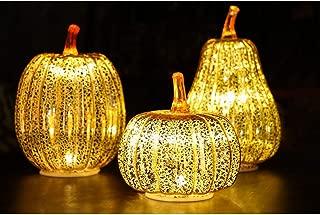 Berkley Jensen Glass Halloween & Harvest Pumpkin Set with LED Lights, 3 pk.