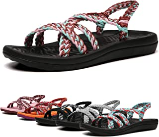 Women's Comfortable Flat Walking Sandals with Arch Support Waterp.