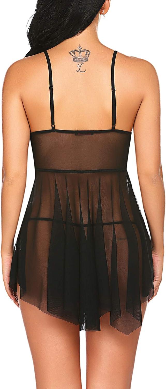 Avidlove Babydoll Lingerie for Women Lace Negligee Lingerie Sexy Boudoir Outfits V-Neck Sleepwear