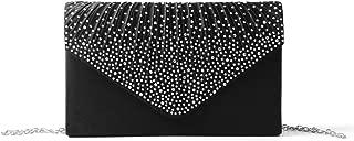 Kuang Women Elegant Diamante Evening Bags Envelope Clutch Purse Handbags Crossbody Bags for Wedding Party