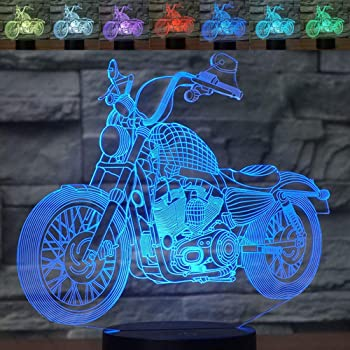 3D Illusion Night Light Motorcycle 7 Color Change Touch Switch USB Powered LED Decoration Table Lamp for Holiday Birthday Cool Gift