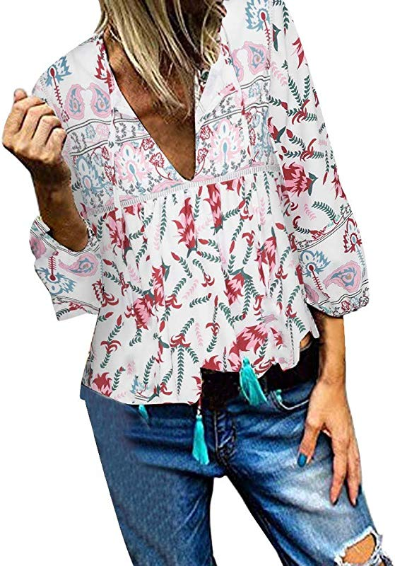 Womens Casual Long Sleeve V Neck Ruched Floral Tunic Tops For Women Shirts Tops And Blouse Gogoodgo