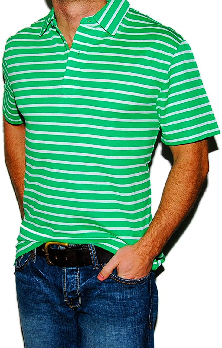 Ralph Lauren Polo Purple Label Mens Short Sleeve Shirt Green White Stripe Pima Cotton
