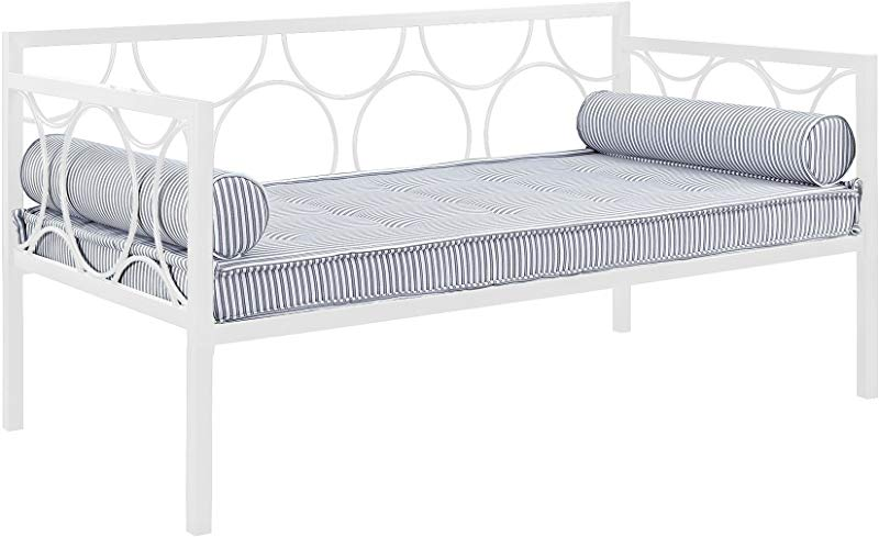 DHP Rebecca Metal Daybed Frame Sofa Bed Fits Twin Size Mattress White