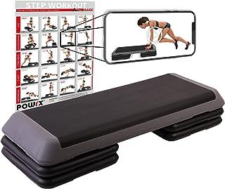 POWRX - Step fitness professionale XXL - Stepper ideale per esercizi di body pump, aerobica e tonificazione muscolare - Al...