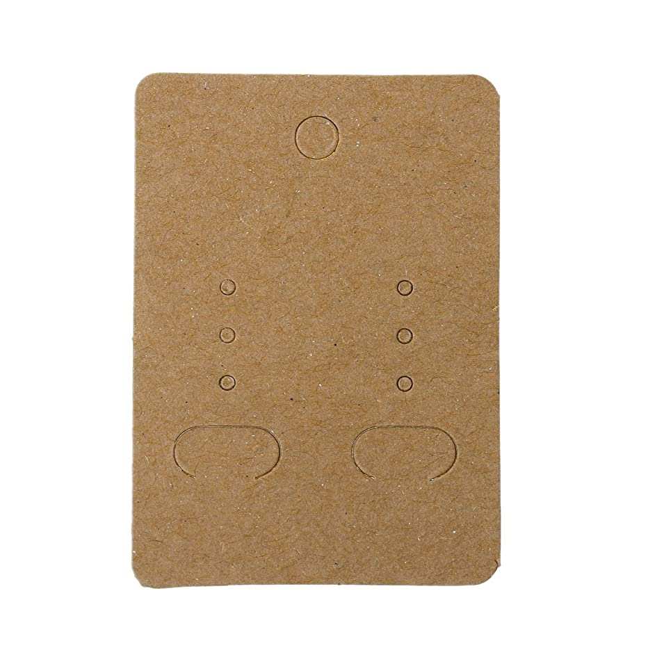 Paper Jewelry Earrings Ear Studs Display Cards Rectangle Light Coffee 7cm(2 6/8