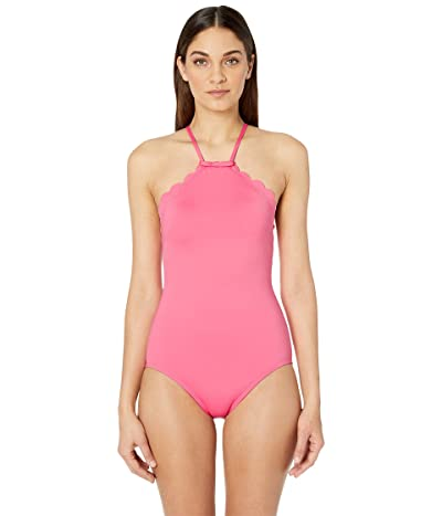 Kate Spade New York Core Solids #79 Scalloped High Neck One-Piece w/ Removable Soft Cups (Meadow Pink) Women
