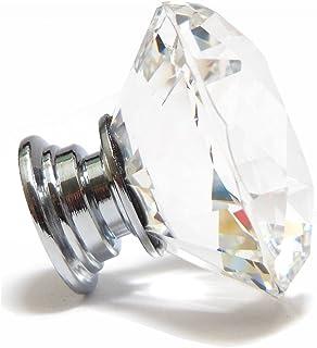 Oyfel Perilla De Puerta Pomo de Cristal Tiradores Claro Vidrio Cristalino Forma De Diamante Transparente Cajón Armario Mue...