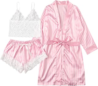 SheIn Women's Sheer Lace Bralette and Striped Shorts Pajama Lingerie Set with Robe