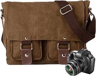 Neuleben Kameratasche Schultertasche mit abnehmbarem Kamerafach Vintage klein Umhängetasche Canvas für Damen/Herren Braun
