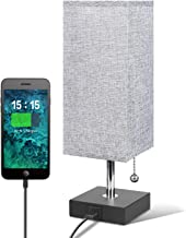 USB Table Desk Lamp, Grey Bedside Nightstand Lamp with USB Charging Port, Solid Wood Unique Lampshade,Convenient Pull Chai...