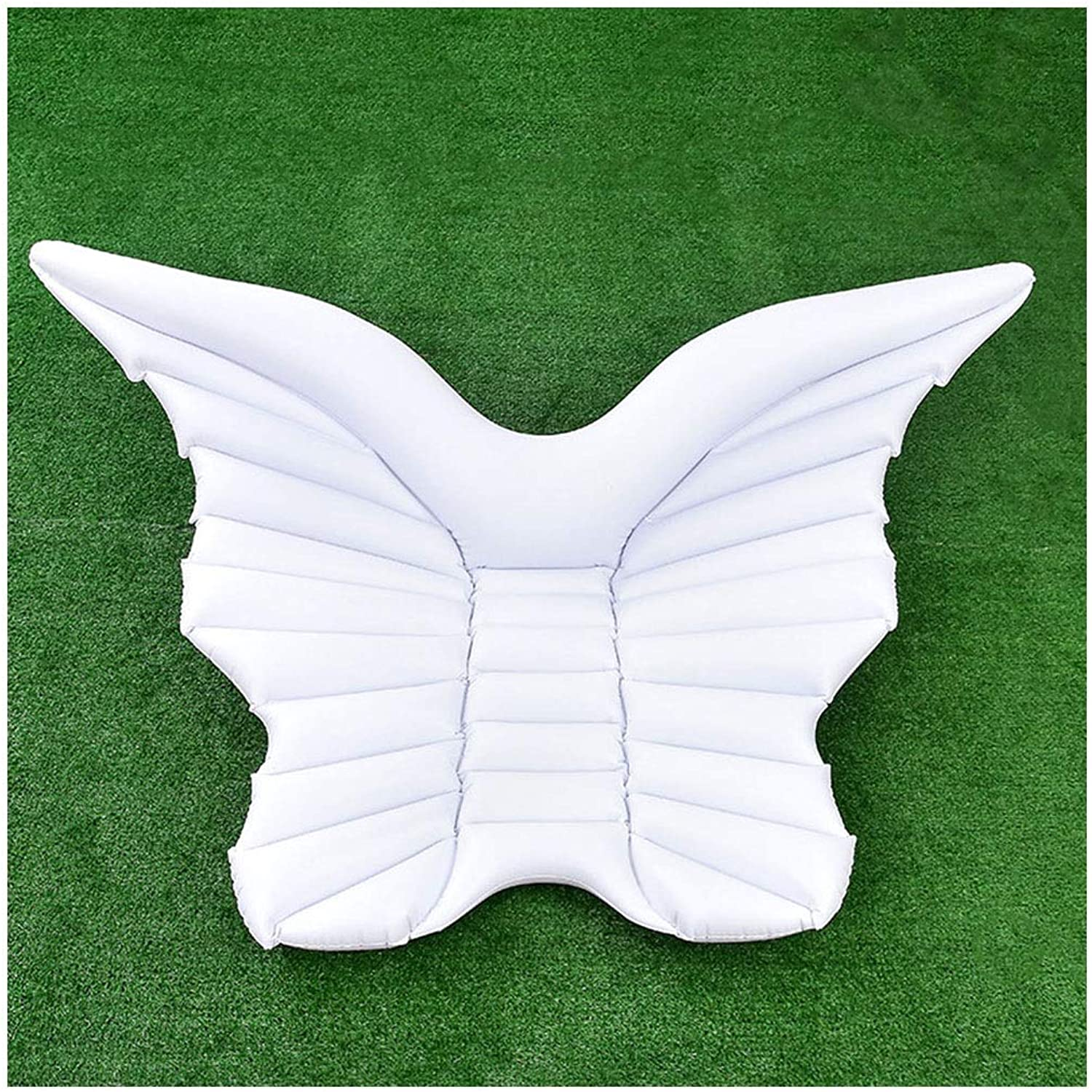 Large Inflatable Floating Row  Butterfly Swimming Ring  PVC Angel Wings Floating Drainage Inflatable Adult Floating Exhaust Pad ( color   White )