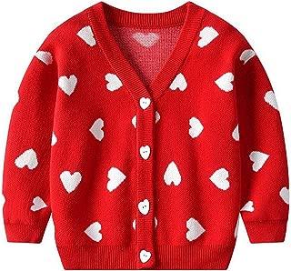 Autumn Baby Kids Loving Heart Print Long Sleeve Knitwear Sweater Cardigan Children Girls Velvet Winter Warm Clothing
