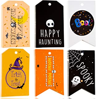 Halloween Tags - 60 Pieces Halloween Gift Bag Tags - Halloween Gift Wrap - Halloween Treat Tags - Spooky Gift Wrap Perfect Decorations for Halloween Gift Bag, Halloween Candy Bags