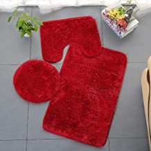 ESUPPORT Solid Color Bathroom Rug 3 Pcs Soft Absorbent Non Slip Bath Mat Carpets & Toilet Lid Cover Set Washable, Red