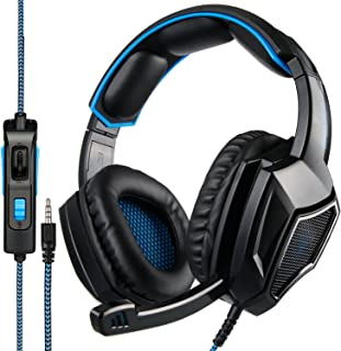 [Newest Updately] Sades SA920 Wired Stereo Gaming Headset Over Ear Headphones with Microphone for New Xbox One / PS4 / PC/Cell Phones- Black/Blue