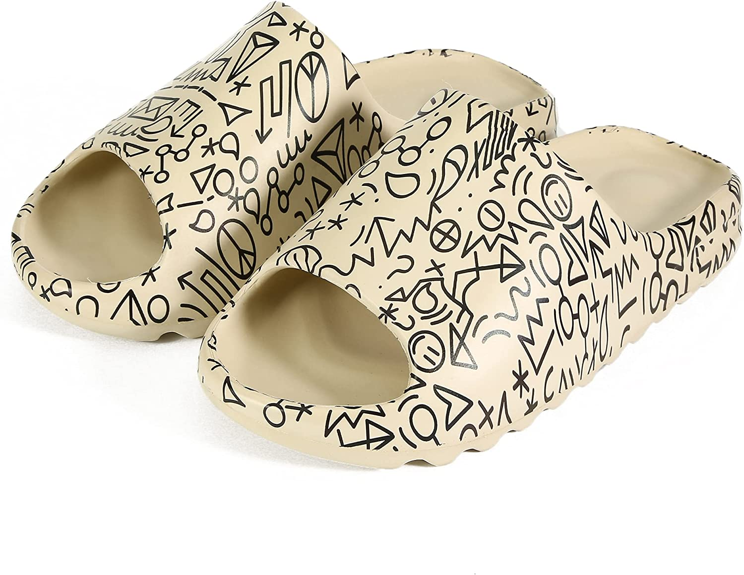 Graffiti slides Women Men Quick Drying Slip on Shower Shoes Thick-Soled Sandals Soft Comfortable EVA Platform Pillow Open Toe Slippers House Indoor & Outdoor