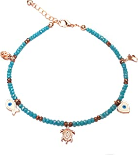 Alwan Long Size Crystal Anklet with Rose Gold Plated Charms for Women - EE3988FEXBL