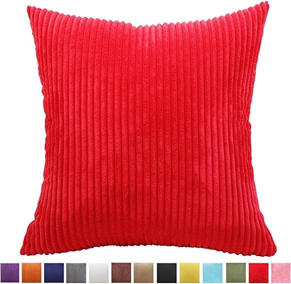 Throw Pillow Cover 18x18 Neutral Momoikcn Supersoft Decorative Pillow Case Cushion Cover With Invisible Zipper For Sofa Chair Red 18 X 18
