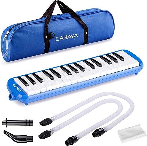 CAHAYA Melódica Piano de Viento con 32 Teclas Incluye Tubo de Soplado Boquilla y Bolsa de Transporte - Azul
