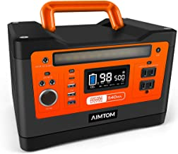 AIMTOM 540Wh Portable Power Station, Lithium Battery Pack with 110V/500W AC, 12V DC, USB, 96W Carport and 18W Type-C, Solar-Ready Generator (Solar Panel Optional) for CPAP Outdoor RV Camping Emergency