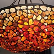 Fine Art Lighting 618-Piece Agate Stone Hanging Lamp 19 by 24-Inch